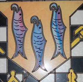 Three fish represent Ribble, Calder and Hodder